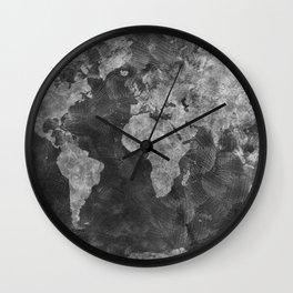 world map 55 black Wall Clock