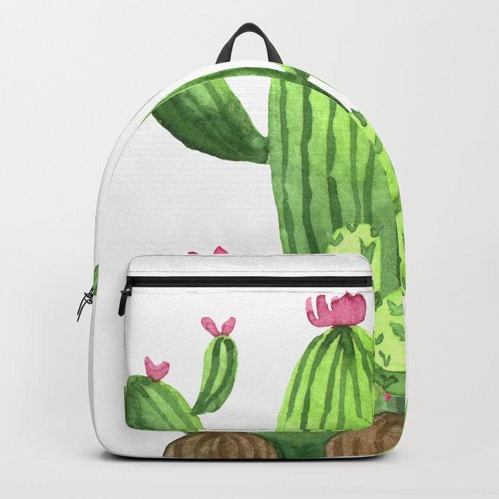 Green Cacti with Pink Flowers Backpack