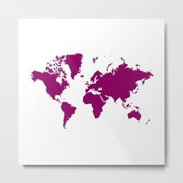 World with no Borders - sangria Metal Print
