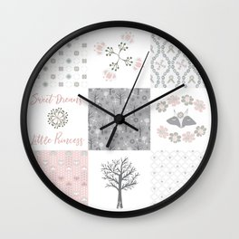 Sweet Dreams Little Princess Cheater Quilt Wall Clock