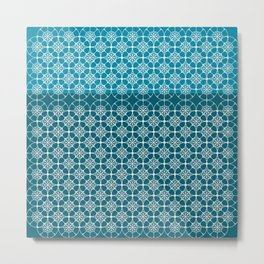 Portuguese Tiles of the Algarve in Blue with Glitch Metal Print