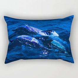 Deep Blue Dolphins Rectangular Pillow