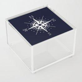 Navy Nautical - White Compass Acrylic Box