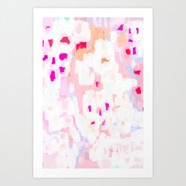 Netta - abstract painting pink pastel bright happy modern home office dorm college decor Art Print