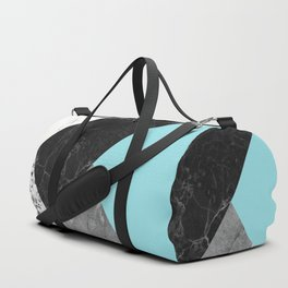 Black and White Marbles and Pantone Island Paradise Color Duffle Bag
