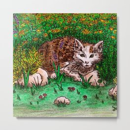 Cat in Flower Garden Metal Print