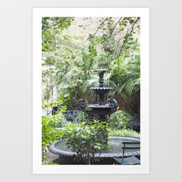 New Orleans Cafe Fountain Art Print
