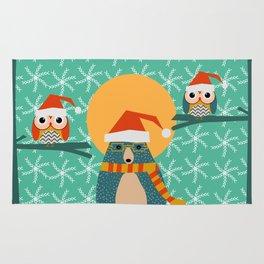 Christmas bear and two little owls Rug