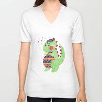 trex V-neck T-shirts featuring Green Dino by haidishabrina