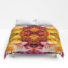 Rust and Gold Fern Patched Fractal Comforters