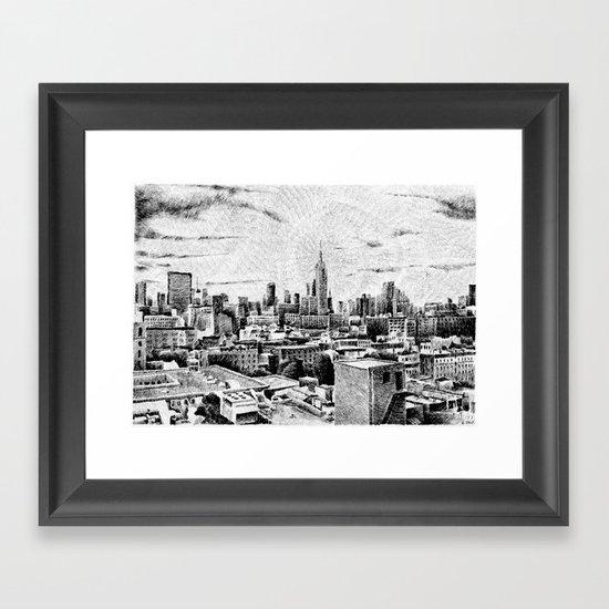 New York City - Fingerprint - Black ink Framed Art Print