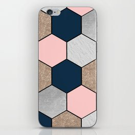 Navy and peach marble and foil hexagons iPhone Skin