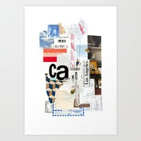 los angeles Art Prints featuring Los Angeles by Emily Rickard