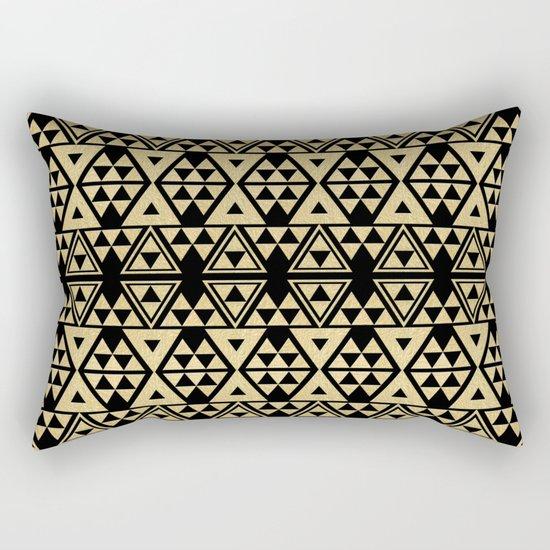 Black and Gold Geometric Pattern 2 Rectangular Pillow