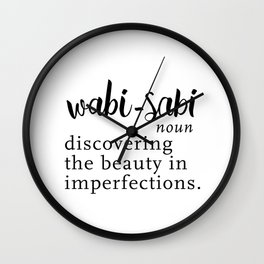 Wabi Sabi Word Nerd Definition - Black Minimalist Wall Clock