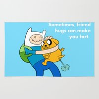 finn and jake Area & Throw Rugs featuring Finn and Jake Fart  by Richtoon