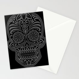 Intricate Gray and Black Day of the Dead Sugar Skull Stationery Cards