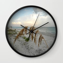 Sunset with Sea Oat Wall Clock