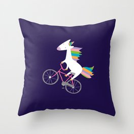 bike unicorn  Throw Pillow