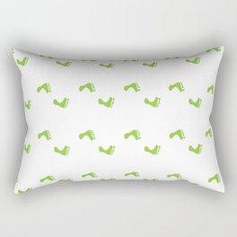 Walk On - Grass Green Feet Pattern Rectangular Pillow
