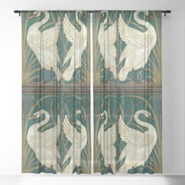 Walter Crane's Swan, Rush, Iris Sheer Curtain