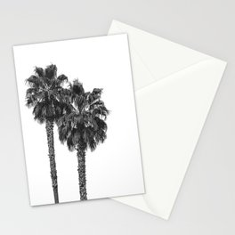 Dos Palmeras // Tropical Black and White Palm Tree Photography California Nature Ocean Vibes Stationery Cards