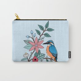 Kingfisher and Flowers Carry-All Pouch