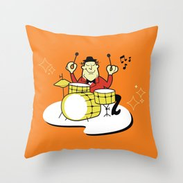 Vintage Drummer Throw Pillow