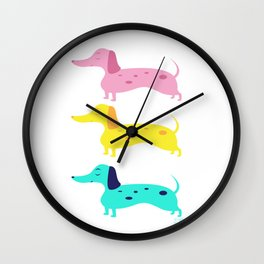 Dapple Dachshund Love: Rainbow Wall Clock