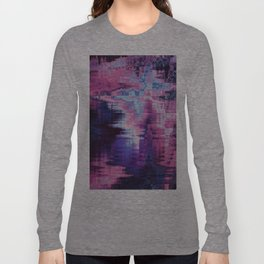 Violet Abstract Glitch effect Long Sleeve T-shirt