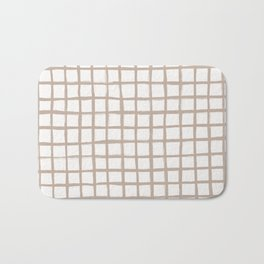 Strokes Grid - Nude on Off White Bath Mat