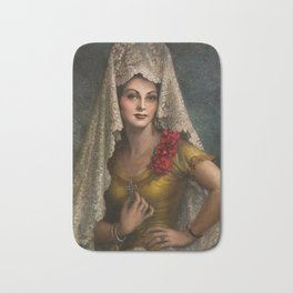 Spanish Beauty with Lace Mantilla and Comb by Jesus Helguera Bath Mat
