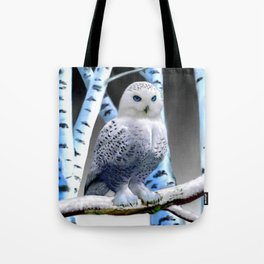 Blue-eyed Snow Owl Tote Bag