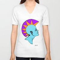 goddess V-neck T-shirts featuring Goddess by Helena Bowie Banshees