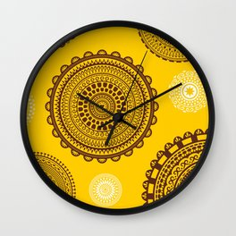 Yellow! Boho style pattern in bright warm tones. Wall Clock
