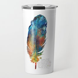 Your Heart's Blessing - Native American Colorful Feather Art - Sharon Cummings Travel Mug