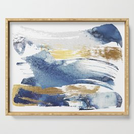 Wild Blue and Gold Wash Serving Tray
