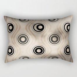 Pantone Hazelnut, Bold Circle Rings & Wavy Line Pattern Rectangular Pillow