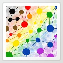 Rainbow molecule geometric doodle Art Print