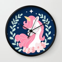 Pretty hand drawn unicorn background with leaves decoration Wall Clock