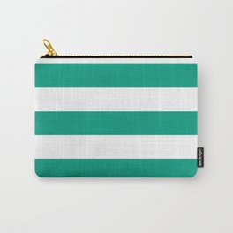 Paolo Veronese green - solid color - white stripes pattern Carry-All Pouch
