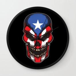 Puerto Rico Skull   Proud Boricua Flag Wall Clock
