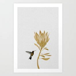 Hummingbird & Flower I Art Print
