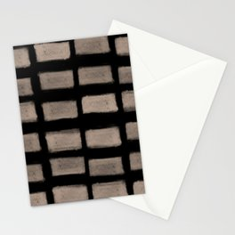 Brush Strokes Horizontal Lines Nude on Black Stationery Cards
