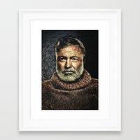 hemingway Framed Art Prints featuring Ernest Hemingway by Taylan Soyturk