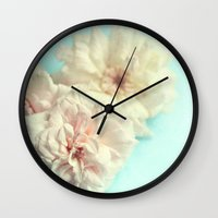blush Wall Clocks featuring blush by Sylvia Cook Photography