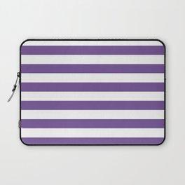 Narrow Horizontal Stripes - White and Dark Lavender Violet Laptop Sleeve
