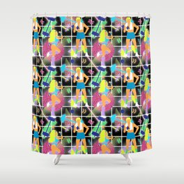 Neon 80's Fitness in Black Grid Shower Curtain