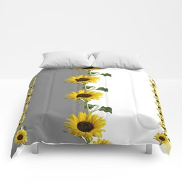LINEAR YELLOW SUNFLOWERS GREY & WHITE ART Comforters