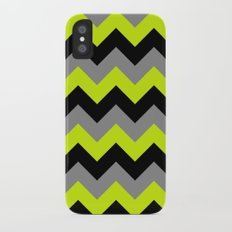 Chevron Silver Lime iPhone X Slim Case